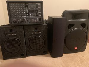 Yamaha EMX 66M 6-Channel Powered Mixer $150, Optimus 40-0110 Speakers $40 a Piece, PSB Speakers $100 l, JBL EON15 $150 for Sale in Landover, MD
