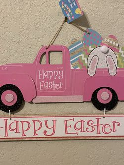 Easter Sign Pink Truck Easter Eggs And Bunny for Sale in San Antonio,  TX