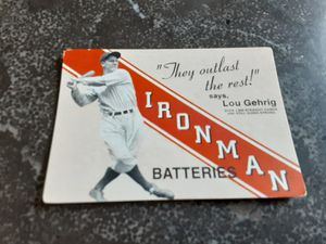 Lou Gehrig Ironman Batteries Baseball Card for Sale in Naples, FL