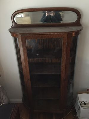 Antique 1890's Curved Glass China Cabinet for Sale in St. Louis, MO