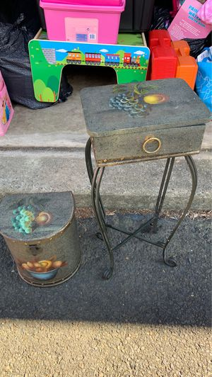 Table and trashcan antique for Sale in Philadelphia, PA