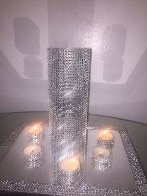 Home Decor, Wedding centerpiece, Rhinestone candle holder Glass cylinder vase set for Sale in St. Louis, MO