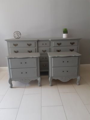 Set one dresser and two nightstand. vintage beautiful clean In a gray color for Sale in Los Angeles, CA
