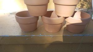 5 2 and 1/2 in tall 3 and a 1/2 in wide small flower clay pots for Sale in North Ridgeville, OH