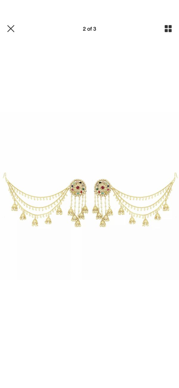 Bahubali style multi color stone earrings with chain