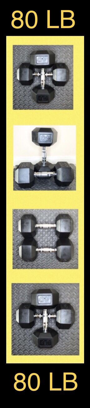 (2) 40LB CAP Rubber Hex Dumbbell pair ( 80lb total ) for Sale in Moreno Valley, CA