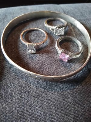 Take all jewelry (2 silver braclets and 6 steel rings size 8/9) for Sale in Port Neches, TX