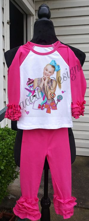 Jojo siwa unicorns candy outfit with shoe and bows for Sale in Fort Worth, TX