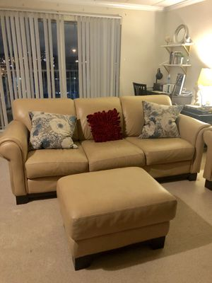Leather couch and ottoman for Sale in Alexandria, VA