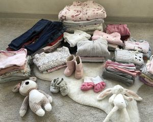 More than 200 beautiful baby girl clothes 3 6 9 12 dresses tops onesies shoes hats socks tights leggings sweater pajamas for Sale in San Diego, CA