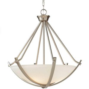 3-Light Brushed Nickel Foyer Pendant with Etched Hammered Glass-BRAND NEW for Sale in Fort Lauderdale, FL