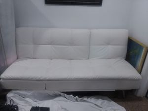 White Leather Futon Couch with usb porth for Sale in Locust Grove, VA