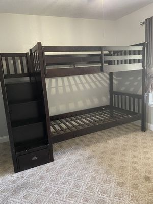Bunk bed with stairs no mattresses for Sale in Ripon, CA