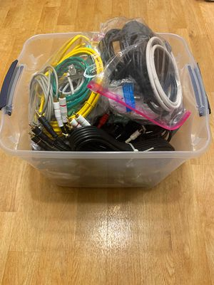Large Bucket of Misc power cords, cable cords, Audio Cables, Ethernet Cables, computers wires Etc for Sale in Covington, WA