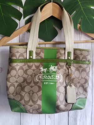 COACH authentic Green Ivory Hand bag Small Tote Women's Purse for Sale in Los Angeles, CA