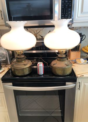 LARGE PAIR ANTIQUE OIL LAMPS CONVERTED TO ELECTRIC for Sale in Boca Raton, FL