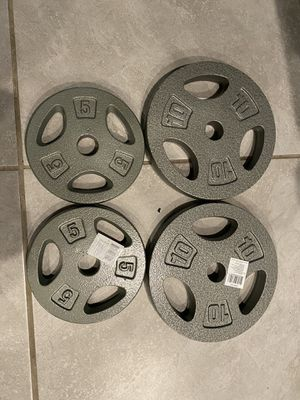 Weight Plates and Curl Bar for Sale in Buda, TX
