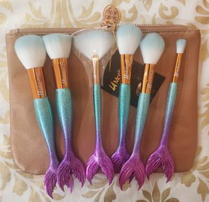 6pcs mermaid makeup brushes set with large cosmetic bag for Sale in Los Angeles, CA
