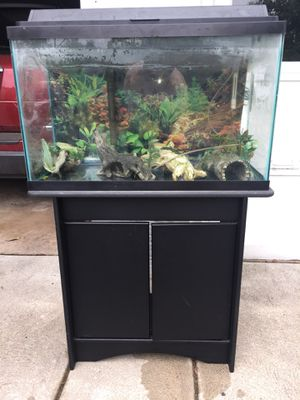50 gallon aquarium with cabinet/stand and many extras for Sale in Media, PA
