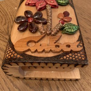 Jewerly Box Handmade rustic Wooden with 3D Floral Design Hinged Box Cuba for Sale in Phoenix, AZ