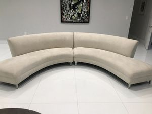 Mitchell Gold 2 Section Circular Couch, Soft Suede, Stone Color for Sale in Miami, FL