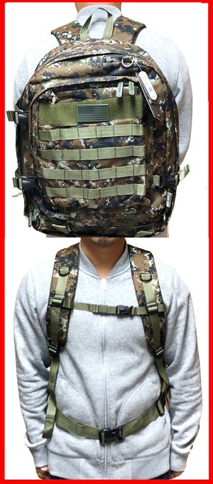NEW! Camouflage Tactical military style BACKPACK molle camping fishing hiking drone bag school bag work travel luggage bag gym bag for Sale in Carson, CA