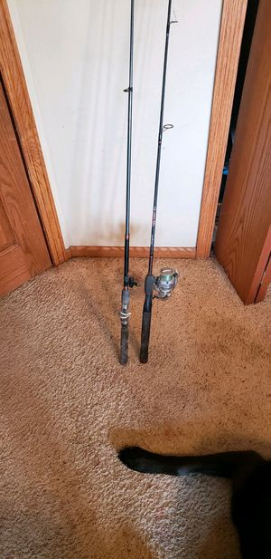 Two fishing poles one reel. for Sale in Gibbon, MN