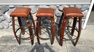 Real wine barrel bar stools with leather seat (3) for Sale in Danville, CA