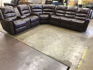 New brown leather reclining 6 person sectional sofa set. Delivery today for Sale in Portland, OR