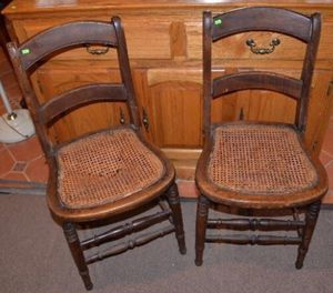 Pair of Slatback Cane Seat Chairs for Sale in Burke, VA