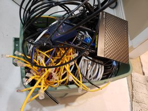 Box of tech - router/cables/speakers for Sale in Bethesda, MD