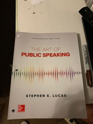 Not used The Art Of Public Speaking by Stephen E. Lucas. 13th Edition for Sale in Irving, TX