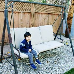 Porch swing Patio set 3 seater swing+cushions,7.1x3x5ft tall for Sale in Topanga, CA