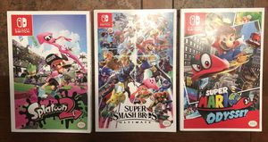 Nintendo Switch Strategy Guides Mario Odyssey Smash Bros Ultimate Splatoon 2 for Sale in Snohomish, WA