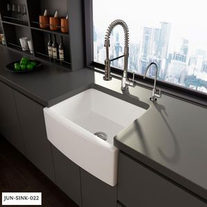 Eridanus White Ceramic 24 in. Single Bowl Farmhouse Apron Kitchen Sink with Grid and Strainer for Sale in Dallas, TX