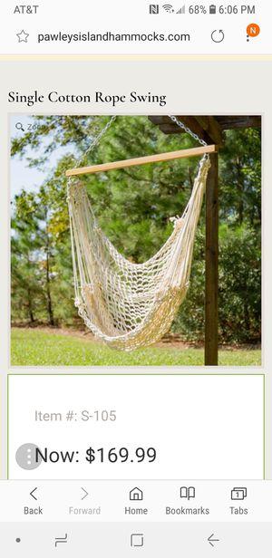 Pawleys Island Island Swing Single Cotton Rope Swing Hammock for Sale in Tampa, FL