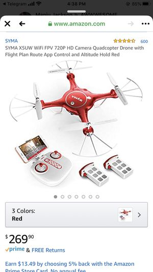 SYMA X5UW WiFi FPV 720P HD Camera Quadcopter Drone with Flight Plan Route App Control and Altitude Hold Red for Sale in Vista, CA