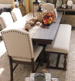 .. Regent Grayish Brown Dining room Set.. Delivery Available. Table And Chairs and Bench for Sale in Austin,  TX