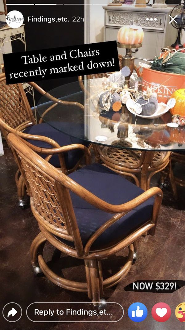 Mid Century bamboo table 4 Chairs