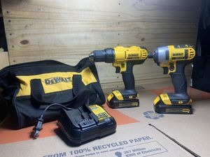 DEWALT 20-Volt MAX Lithium-Ion Cordless Drill/Driver and Impact Combo Kit (2-Tool) with (2) Batteries 1.3Ah, Charger and Bag! for Sale in Delano, CA