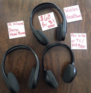 3- IR Infrared Wireless Stereo Headphones (for IN CAR , TV, DVD Player) $60 for ALL 3 OBO for Sale in Visalia, CA