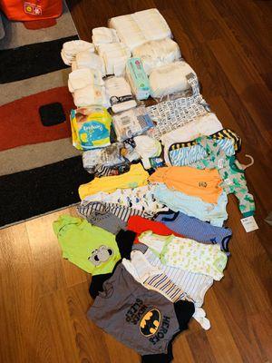 Newborn bundle pack (150 Diapers/onesies/mittens/etc) for Sale in San Antonio, TX