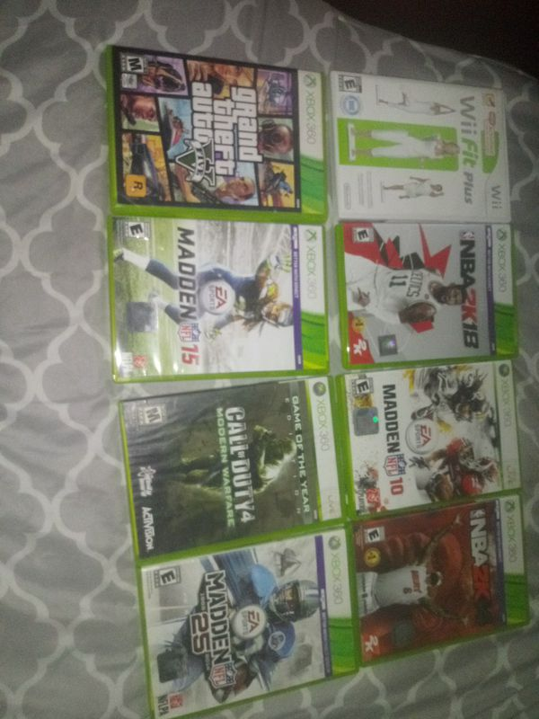 7 xbox 360 games and 1 wii game
