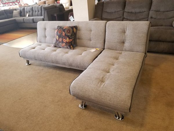 Grey Futon and Chaise, convert to a King Bed
