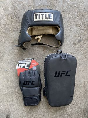 Title boxing Headgear with UFC gloves for Sale in El Monte, CA