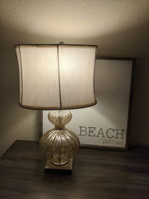 Silver Glass Lamp with Shade for Sale in San Antonio, TX