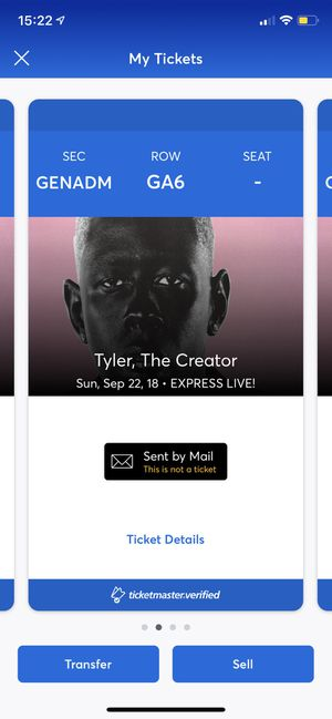 TYLER THE CREATOR CONCERT TICKETS SEPTEMBER 22, 2019 for Sale in Columbus, OH
