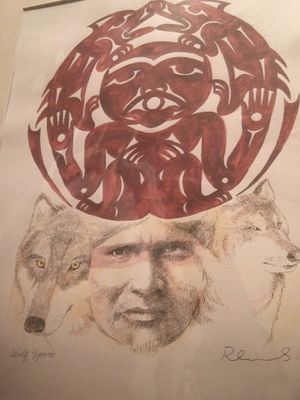 Wolf Spirit, Amazing Artwork, combination of Watercolor and Black Ink depicting Two Wolves, Face of an Indian and Gorgeous Native Amulet for Sale in Seattle, WA