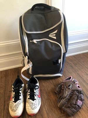 Girls Softball gear Easton bag. Nike Size 4 Cleats & Rawlings glove for Sale in Toms River, NJ