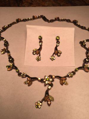 Green & amber rhinestone necklace & Earring set for Sale in Boca Raton, FL